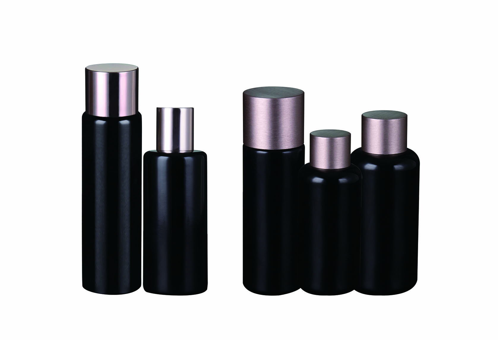 Dark violet glass lotion bottle and toner bottle