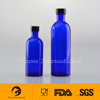 Cobalt blue glass toner bottle
